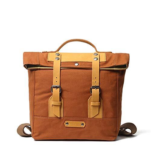 QXbecky Zaino impermeabile e indossabile traspirante per studenti e donne studenti zaino casual borsa impermeabile in tela con borsa esterna in pelle zaino per laptop 27x10x28cm