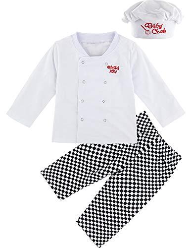 MOMBEBE COSLAND Disfraz Cocinero Niño Conjunto de Camiseta Manga Larga Gorro (Cocinero, 4 años)