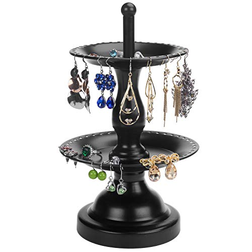 MyGift 2-Tier Fountain Style Black Earring Hanger & Ring Dish Jewelry Stand