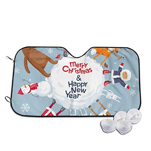 Rterss Santa Claus Elk Konijn Egel Vos Beer Voorruit Zon Schaduw Visor Voorruit Glas Voorkomen De Auto Van Verwarming In Gepersonaliseerde