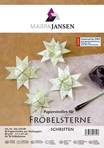 MarpaJansen Papierstreifen für Fröbelsterne - (1,5 x 45 cm, 80 Streifen, 80 g/m²) - Motivpapier - Schriften