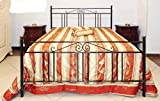 Letto Matrimoniale, Ferro BATTUTO, Modello Jack, Vari Colori 100% Made in Italy (Nero, Sfumature Oro)
