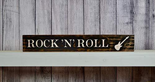 CELYCASY Rock N Roll Rustikales Holzschild im Used-Look, Aufschrift Man Cave, Konzertschild, Kinderzimmer, Einweihungsgeschenk, Gitarrenschild