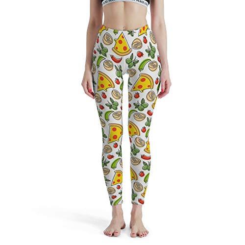 shaoziyun Pushup Leggings Mujer Delious Food Entrenamiento de Cintura Alta Tobillo Largo Opaco Mallas estrechas Pantalones Deportivos Blanco XXXL