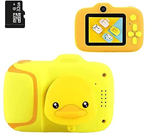 DigitCont Cámara de juguete, grabadora de vídeo digital para niños, cámara de juguete de 2.0 pulgadas con 20.0 megapíxeles 1080p mejores regalos de cumpleaños con tarjeta SD de 32 GB gato amarillo