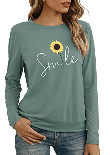 herdress Damen Tops Kurz T-Shirts Rundhalsausdruck Sweatshirt Classic Elegant Streetwear Grün S