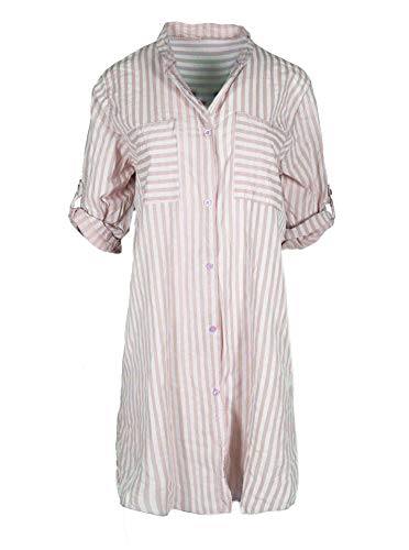Zwillingsherz Sommerkleid im Streifen Design – Hochwertiges Freizeitkleid für Damen Frauen Mädchen - Strandkleid Cocktailkleid - Locker luftig - OneSize - Perfekt für Frühling Sommer und Herbst - rosa