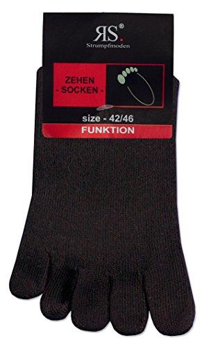 RS Germany 10 PAAR Zehensocken mit echter Ferse, hoher Baumwollanteil, ohne Naht, handgekettelt mit Komfortb&, Schwarz, 42 - 46