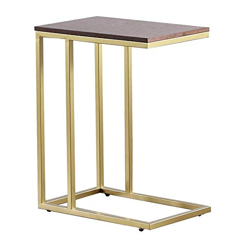 Mesa de cama, Mesitas de mesa de madera pequeña, Mesa cuadrada de hierro forjado de oro, mesa lateral del sofá, café o computadora portátil con marco de metal Mesa de centro Color: Oro, Tamaño: 2012.9