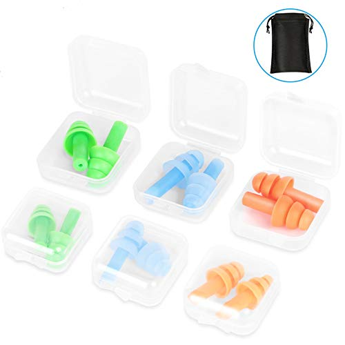 Nnrly 6 Packs Reusable Silicone Ear Plugs, Waterproof Hypoallergenic Noise Reduction Earplugs for Hearing Protection, Suitable for Sleeping,Snoring, Swimming, Concerts, with Storage Bags