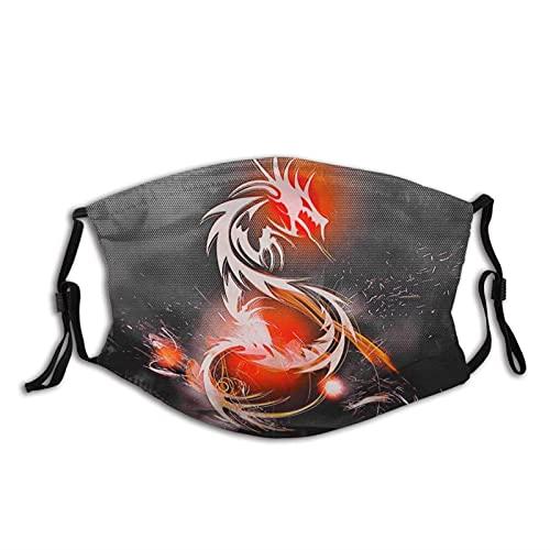 Máscara facial de dragón de fantasía para mujeres adultas, hombres, tela reutilizable, bufandas de moda impermeables con 2 filtros
