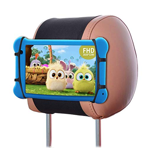 Car Headrest Mount Holder Angle Adjustment Car Back Seat Tablet Holder with Soft Silicon Holder Net for 7-10 Inch iPad/Tablets