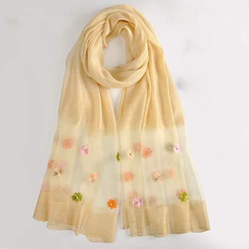 JK zonwerende warme sjaal, winddichte sjaalsjaals 100% moerbeizijde vrouwen blauw grijs-roze-geel geel