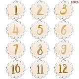 LINGZIA 12 Unids/Set Tarjeta de Hito de Bebé Hecha A Mano, Números de Hoja Vintage Grabado de Madera Infantes Regalo de Baño Recién Nacido Accesorios de Fotografía Set B