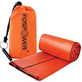 FosPower Emergency Sleeping Bag Liner Durable Lightweight Survival Blanket with Stuff Sack and Survival Whistle for Camping, Hiking - Orange