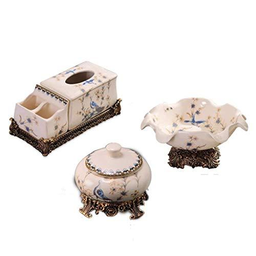 CCLLA Cenicero Fruit Bowl Ceramic Set de 3, Bandeja de la Mesa de café de la Sala de Estar/Frutero/Cenicero Set Decoración de Escritorio