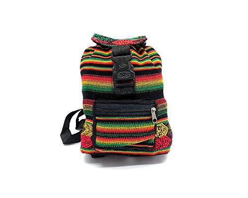 Mini Rasta Peruvian Tribal Print Striped Pattern Lightweight Drawstring Backpack Daypack - Handmade Bags Boho Accessories