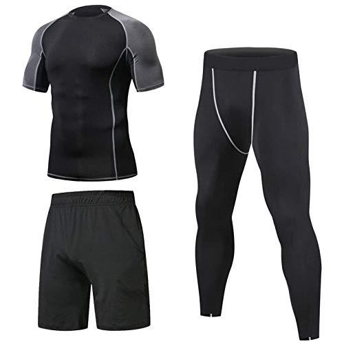 Niksa 3 Pezzi Fitness Palestra Completi Sportivi da Uomo Abbigliamento Sportivo,Compressivo Maglie e T-Shirt Pantaloni Collant a Compressione Vestiti (XL, Short Sleeve(163519 New))