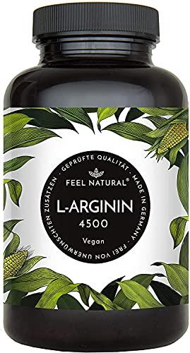 L-Arginin - 365 vegane Kapseln mit 4500mg pflanzlichem L Arginin HCL aus Fermentation (davon 3750mg reines L-Arginin) je Tagesdosis - Ohne Zusätze, in Deutschland produziert