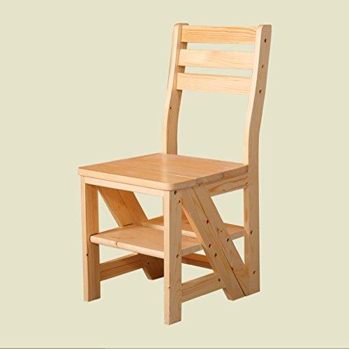 ZfgG Chaise échelle Pliante Chaise d'escalier en Bois Massif Tabourets à Double Usage Escabeaux échelle Chaise en Bois Rack de Rangement pour échelles Multi-usages (Color : A)