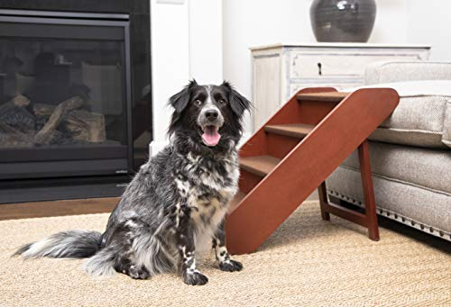 PetSafe CozyUp Folding Wood Pet Steps - PupSTEP Dog and Cat Stairs - Lightweight Durable Wooden Frame Supports up to 200 lb - Side Rails and Non-slip Feet Provide Added Security - 20 inches
