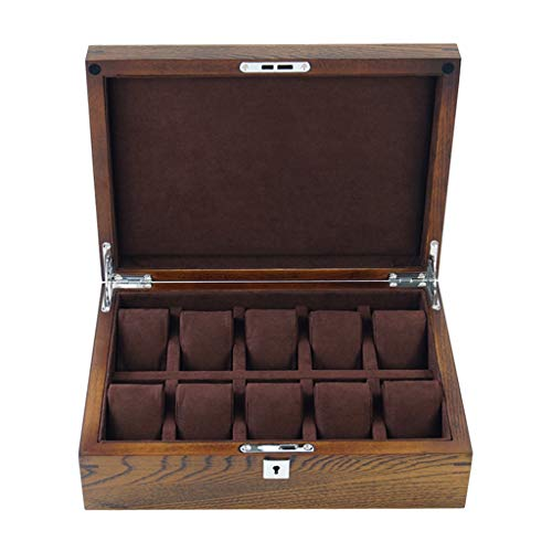 Caja De Reloj De Madera Maciza Haya Antigua 10 CuadríCula Joyas Caja De Almacenamiento con Cerradura Flocado Forro Regalo para Hombres Y Mujeres - 36.8 × 19.9 × 7.4cm