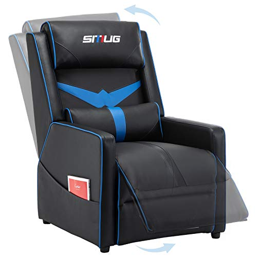 Gaming Recliner Gamer Chair for Adults - Faux Leather Gaming Sofa Comfortable Movie Theater Chairs Ergonomic Single Couch for Living Game Room- Blue