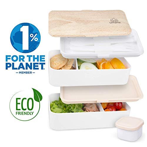 UMAMI® ⭐ Lunch Box Blanco Bambú | Bento Box Con 2 Compartimientos Herméticos Y 3 Cubiertos Sólidos | Apto Para Microondas Y Lavavajillas | Duradero, Saludable Y Con Estilo | Apto Para Adultos Y Niños