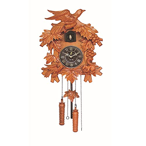 ZHJIUXING ST Reloj de Cuco de Madera Auténtica, Reloj de Chalet de la Selva Negra, Reloj de Pared de Pendulo, Reloj de Péndulo para Sala de Estar Oficina Decoración del Hogar, A
