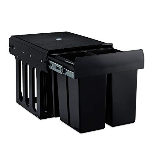 relaxdays 10031541 Poubelle encastrable coulissante, 4 bacs, système de trie pour Le sous-évier, 4X 8 l, 35 x 34 x 47,5 cm, Noir
