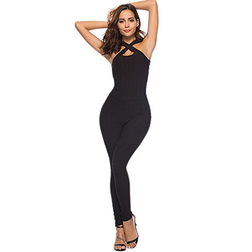 CapsA One-Piece Sport Yoga for Women Jumpsuit Running Workout Running Sports Pants Trouser Tummy Control Shapewear (Black, M)