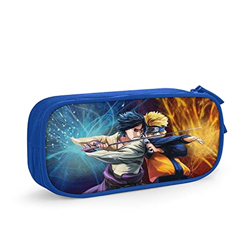 Naruto - Estuche para lápices de viaje, bolsa de cosméticos de viaje, estuche con cremallera de gran capacidad, caja de almacenamiento de papelería, regalo de cumpleaños