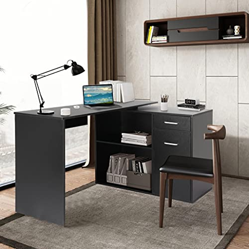 L-Shaped Computer Desk: HESASDG Classic 180° Rotating Corner Computer Table with Large 2 Tier Cabinet and 2 Open Shelf Storage for Home Limited Deal White