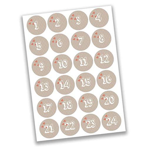 Papierdrachen 24 Adventskalender Zahlen Aufkleber - herzliche Zeit Nr 11 - Sticker 4 cm - zum Basteln und Dekorieren