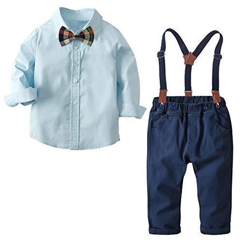Nwada Anzug Kinder Jungen Bekleidungsset Junge Krawatte Shirt + Gentleman Hosenträger Hosen Bekleidung Sets Blau 3-4 Jahre (100)