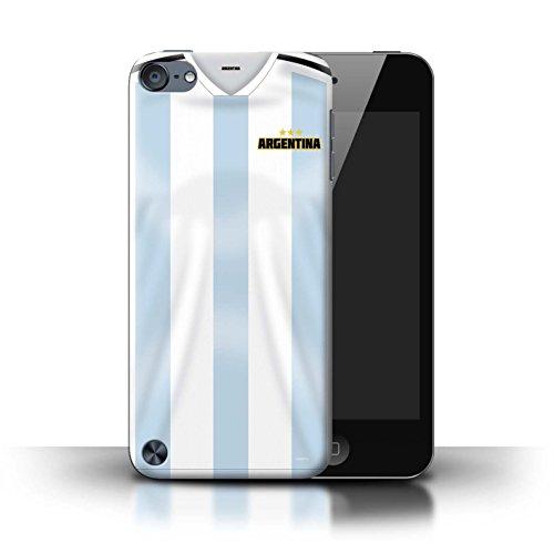 Stuff4® Custodia/Cover/Caso/Cassa Rigide/Prottetiva Stampata con Il Disegno Coppa Mondo 2018 Maglietta Calcio per Apple iPod Touch 5 - Argentina/Argentino