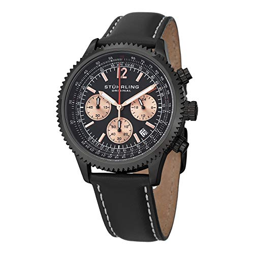 Stuhrling Original Mens Black Stainless Steel Pilots Chronograph Watch, Date, Black Leather Strap with Contrast White Stitching, 669