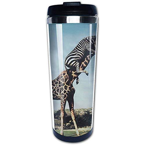 JULOE 400ML Kaffeetasse Tumbler Tasse Edelstahl Liner, Zebra-Antrieb Giraffen-Druck-Reise-Becher Wasser-Flaschen Tragbare Thermos Isolierflasche