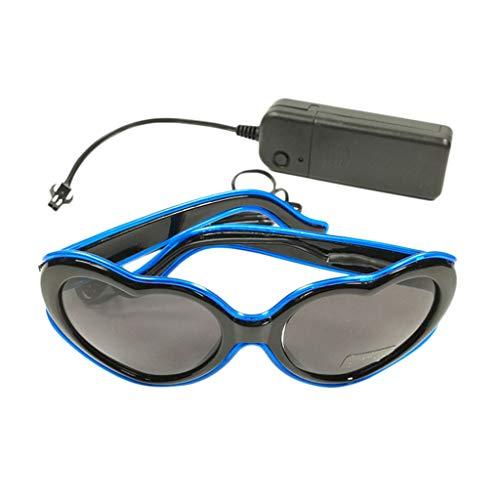 Xniral Unisex Glühende Brille LED-Brille Partybrille mit Batteriefach Ohne Batterie(Blau)