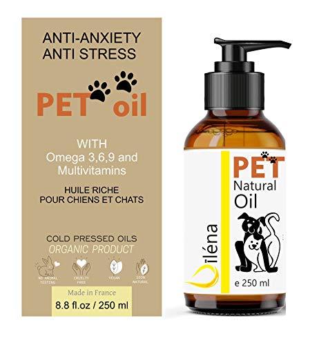 Olio per Animali Domestici, Cani Gatti Supplemento Naturale Giornaliero 6 Oli Spremuti a Freddo Ricchi di Omega 3,6,9 e Vitamina E. (250 ML)