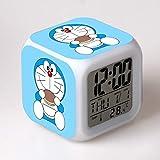 HHIAK666 Reloj Despertador Doraemon, Robot Cat Estudiante Regalo para Niños Reloj Despertador Colorido, Cambio De Color Reloj Cuadrado Led 8Cm J