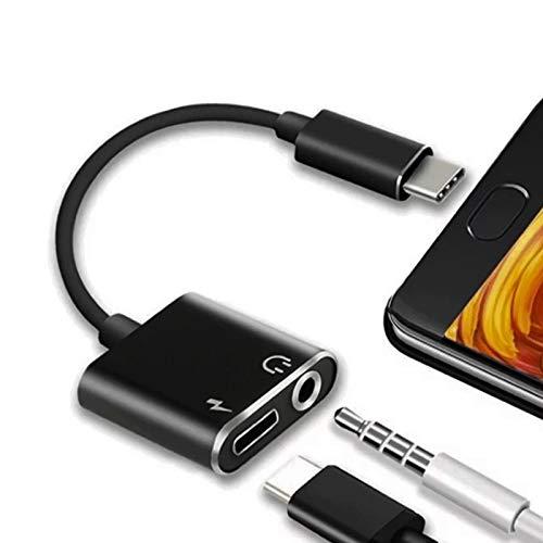 Sadocom Adaptador USB C a jack de 3,5 mm, convertidor auxiliar de audio 2 en 1 y divisor de carga rápida, compatible con Pixel 5, 4, 3, 2 XL, Galaxy S20, S10, Huawei P30 y más