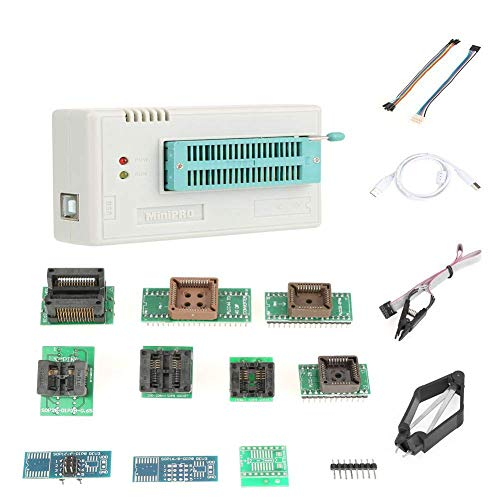 USB Programmer, TL866II Plus Programmer USB EEPROM Flash BIOS Programmable Logic Circuits 8051 AVR MCU GAL PIC with 10 Adapter Automatically Identify The Operating System
