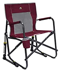 Portable outdoor rocking chair quickly and easily folds flat for storage and transportation. It also has a Mesh backrest Sturdy powder-coated steel frame supports up to 250 pounds includes padded arm rests and built-in beverage holder Patented Spring...
