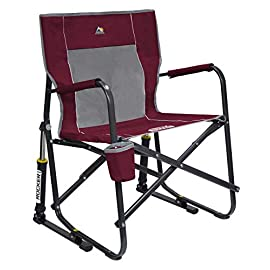 GCI Outdoor Freestyle Rocker Portable Folding Rocking Chair 5 Portable outdoor rocking chair quickly and easily folds flat for storage and transportation Sturdy powder-coated steel frame supports up to 250 pounds includes padded arm rests and built-in beverage holder Patented Spring-Action Rocking Technology delivers smooth rocking motion anywhere outdoors – lawn, patio, camping or tailgating
