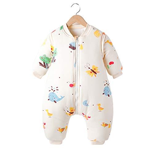 LUO Sacos de Dormir Saco de Dormir de Split-Pierna del bebé es Anti-Arranque, Anti-Patada del bebé está Acolchado for Mantener el Calor, extraíble Mangas Unisex (Color : Snail, Size : 0-1 Years Old)