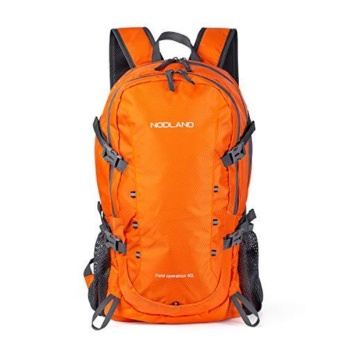 NODLAND Mochila de senderismo ligera de 40 litros, plegable, impermeable, mochila de viaje para hombres y mujeres
