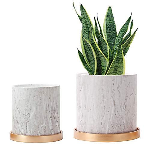 6.7' Ceramic Pots for Plant and 5.5' Indoor Flower Small Pots, Planter Pot with Drainage and Saucers, Set of Marble Pattern Grey Planter