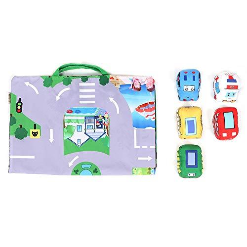 Folding Baby Play Krabbeln Matte mit 5x Mini Auto Spielzeug in Rassel Glocke Infant Soft Game Decke Teppich Kleinkind Verkehr Route Spielzeug gebaut