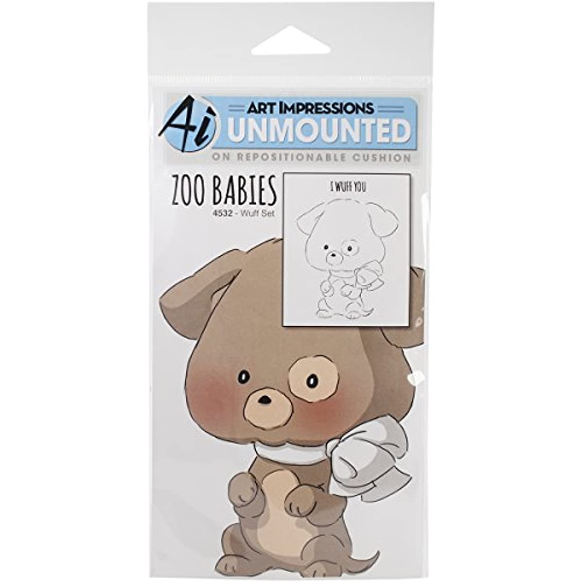 Art Impressions Zoo Babies Cling Rubber Stamps, Wuff